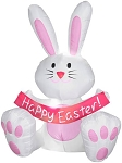 3 1/2' Gemmy Airblown Inflatable Easter Bunny w/ Pink Belly