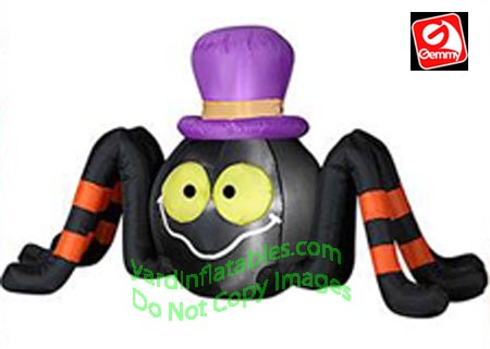 4' Gemmy Airblown Inflatable Spider Wearing Purple Top Hat