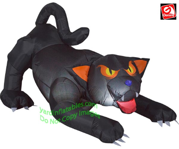 6' Gemmy Airblown Inflatable Animated Evil Eyed Cat w/ Turning Head