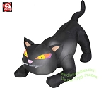 4' Gemmy Airblown Inflatable Black Cat w/ Tail Up