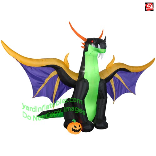 13 1/2' Gemmy Airblown Inflatable Black/Green/Purple/Gold Dragon w/ Pumpkin