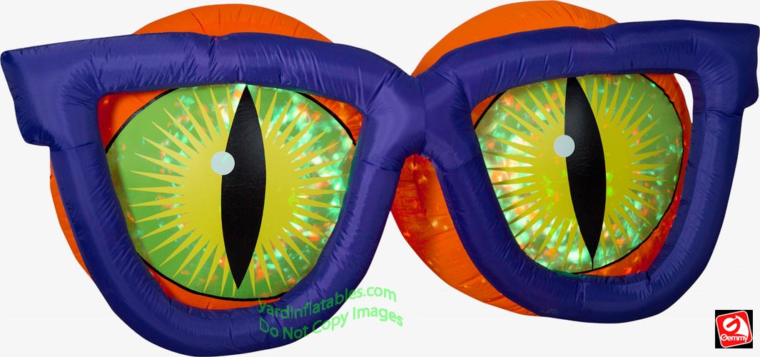 7' Gemmy Airblown Inflatable Kaleidoscope Evil Eyes w/ PURPLE Glasses