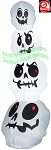 7' Gemmy Airblown Inflatable Skinny Slender Skull Stack