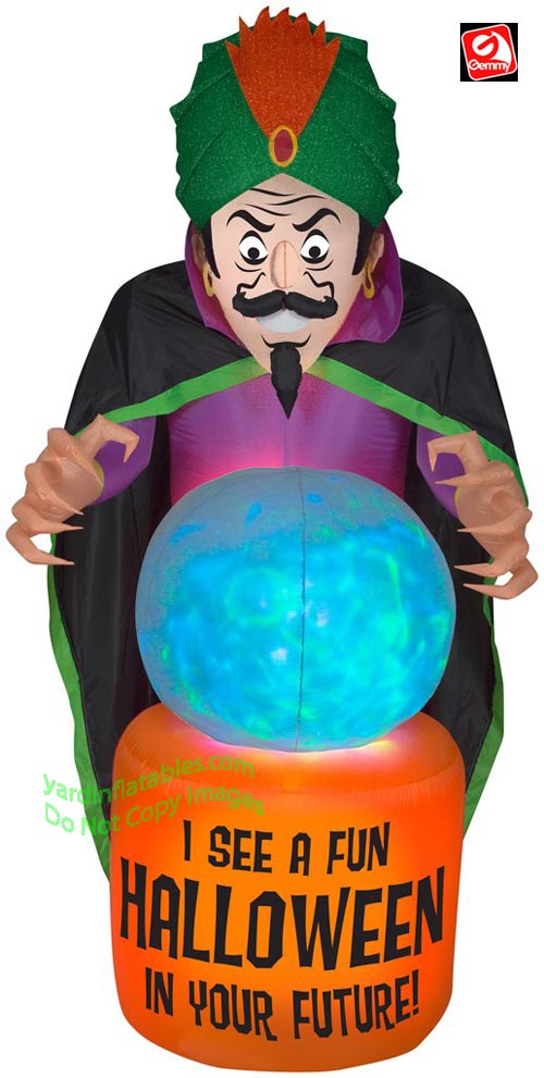7 1/2' Gemmy Airblown Inflatable Mixed Media Fire & Ice Fortune Teller Crystal Ball