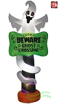 9' Gemmy Airblown Inflatable Ghost w/ Beware Ghost Crossing Sign