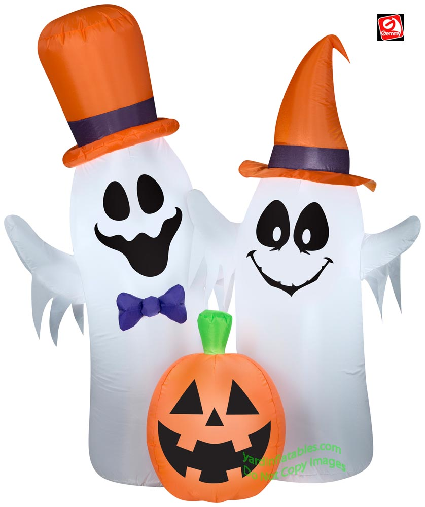 5 1/2' Gemmy Airblown Inflatable Creepy Ghosts and Pumpkin Scene