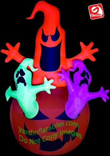 7' Gemmy Airblown Inflatable NEON 3 Ghosts Out Of Pumpkin