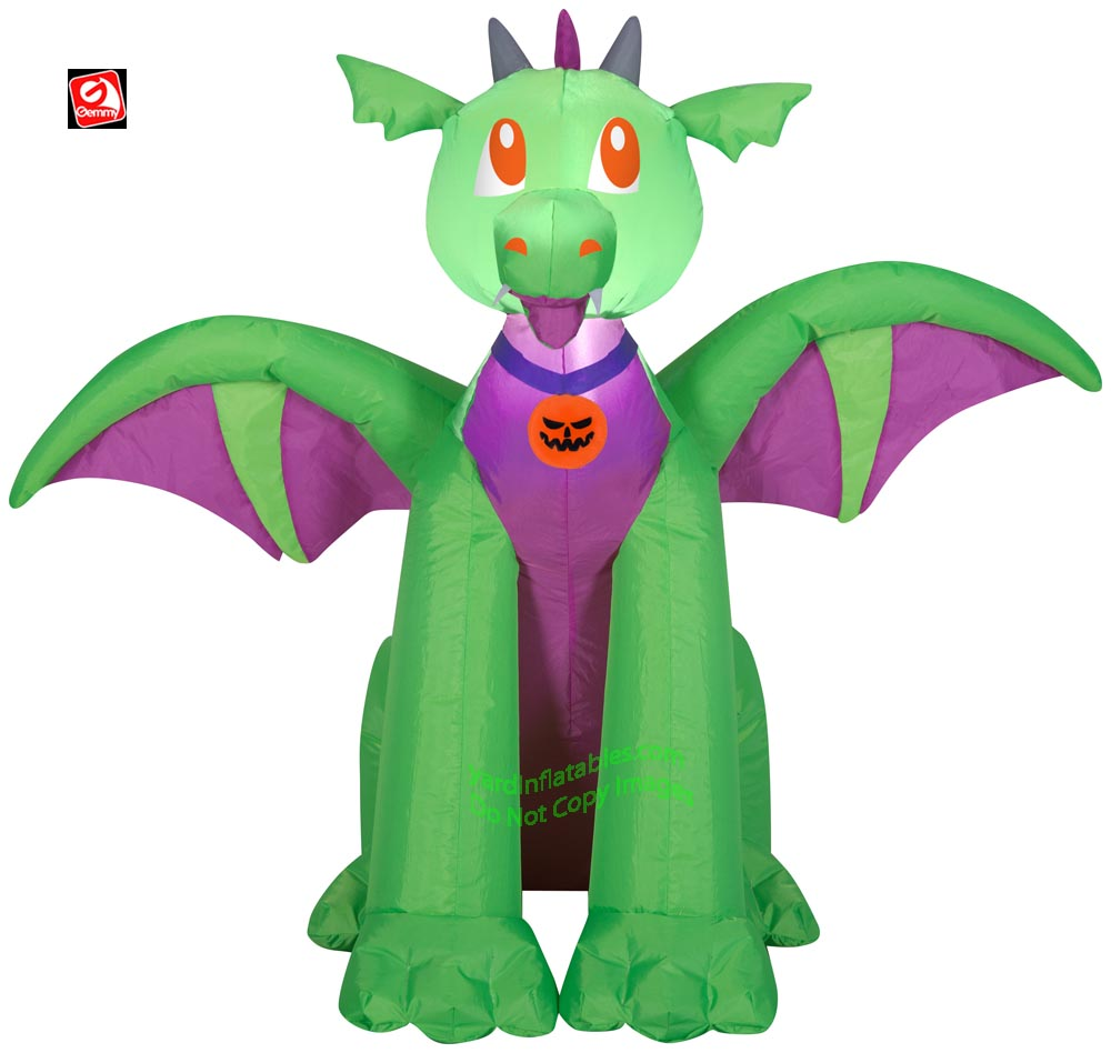 3 1/2' Gemmy Airblown Inflatable Halloween Baby Green & Purple Dragon