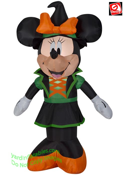3 1/2' Gemmy Airblown Inflatable Minnie Mouse Dressed As A Witch