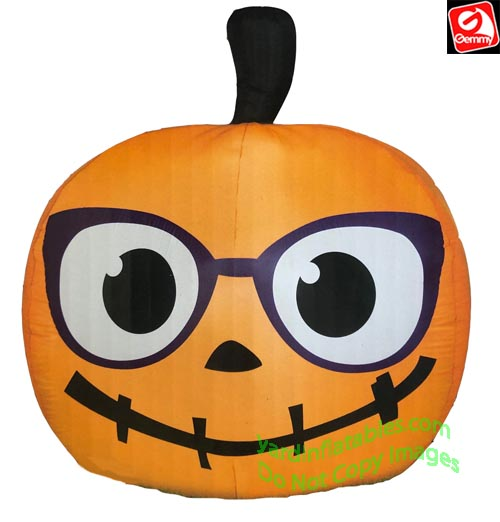5' Gemmy Airblown inflatable Nerdy Jack-O-Lantern with Glasses