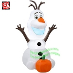 3 1/2' Gemmy Airblown Inflatable Disney's Olaf With Pumpkin