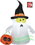 3 1/2' Gemmy Airblown Inflatable Halloween Ghost Wearing Witches Hat