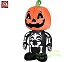 3 1/2' Gemmy Airblown Inflatable Halloween Skeleton Boy w/ Pumpkin Head
