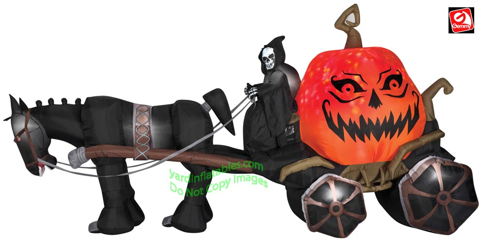 14' Gemmy Airblown Inflatable Fire & Ice Reaper Pumpkin Carriage w/ Sound