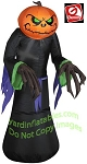 3 1/2' Gemmy Airblown Inflatable Halloween Pumpkin Head Grim Reaper
