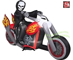7' Gemmy Airblown Inflatable Grim Reaper On Motorcycle w/ Flames