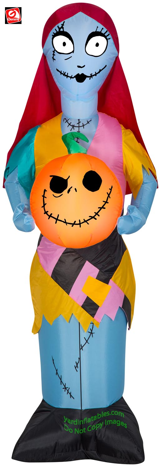 5' Gemmy Airblown Inflatable Nightmare Before Christmas Sally Holding Pumpkin