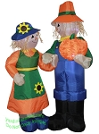 5 1/2' Air Blown Scarecrow Man & Woman Holding Pumpkin