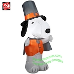 4' Gemmy Airblown Inflatable Peanuts Snoopy Dressed As Pilgrim