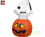 3' Snoopy In Pumpkin With Woodstock Eyes