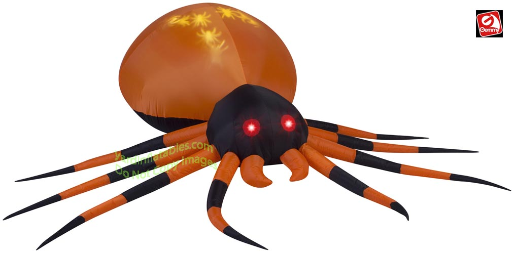 Gemmy Airn Inflatable 8 Projection Whirl A Motion Orange And Black Spider