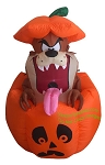 5' Air Blown Inflatable Looney Tunes Taz In Jack-O-Lantern