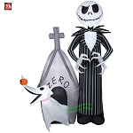 5' Gemmy Airblown Inflatable Jack Skellington w/ Zero In Doghouse Scene