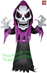 10 1/2' Gemmy Airblown Inflatable Giant Head Skeleton Reaper w/ Red Eyes