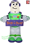 3 1/2' Gemmy Airblown Inflatable Toy Story 4 Buzz Lightyear w/ Halloween Banner