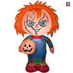 5' Gemmy Airblown Inflatable Halloween Stylized Childs Play Chucky Holding Pumpkin