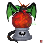 10' Gemmy Airblown Inflatable Kaleidoscope Fire & Ice Dragon On Fortune Teller Crystal Ball