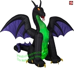 11 1/2' Gemmy Airblown ANIMATED Inflatable Fire & Ice Purple & Green Dragon