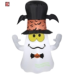 3 1/2' Gemmy Airblown Inflatable Halloween Ghost w/ Bat Top Hat