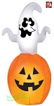 5 1/2' Gemmy Airblown Animated Inflatable Spinning Ghost On Pumpkin