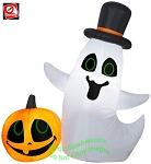 4' Airblown Inflatable Ghost w/ Top Hat & Pumpkin Scene