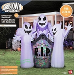 9' Gemmy Airblown Inflatable Animated Kaleidoscope Short Circuit 3 Ghosts Tombstone Scene