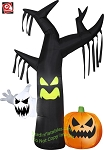 7' Gemmy Airblown Ghostly Tree w/ Pumpkin & Ghost