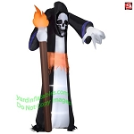 11' Gemmy Airblown Inflatable Giant Skeleton Reaper Pointing  While Holding A Torch