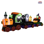11' Air Blown Inflatable Halloween Train w/ Skeleton, Tombstone, and Witch