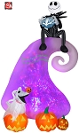 9' Gemmy Airblown Animated Inflatable Projection Kaleidoscope Jack Skellington on Mountain w/ Zero