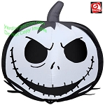2 1/2' Gemmy Airblown Inflatable Jack Skellington Face On Pumpkin