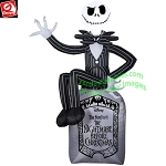 6' Gemmy Airblown Inflatable Nightmare Before Christmas Jack Skellington On Tombstone