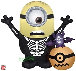 3 1/2' Gemmy Airblown Inflatable Minion Skeleton Pumpkin Scene
