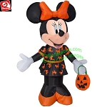 3 1/2' Gemmy Airblown Inflatable Minnie Mouse Holding Pumpkin Tote