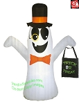 7' Gemmy Airblown Inflatable Ghost w/ Monocle Holding A Treat Bag