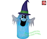 6' Gemmy Airblown Inflatable Clear PVC Projection Kaleidoscope Ghost w/ Witch Hat