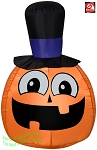3 1/2' Gemmy Airblown Inflatable Happy Pumpkin w/ Top Hat