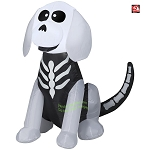 4' Gemmy Airblown Inflatable Halloween Sitting Skeleton Dog