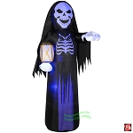 8' Gemmy Airblown Inflatable Short Circuit Skeleton Reaper w/ Lantern