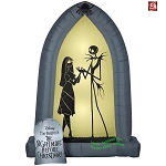 7' Gemmy Airblown Inflatable Jack Skellington And Sally Silhouettes Archway